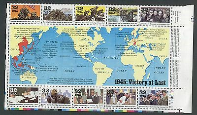 US Plate Block MNH #2981 World War II, 1945 Victory at Last, 32 cent,  PB2981