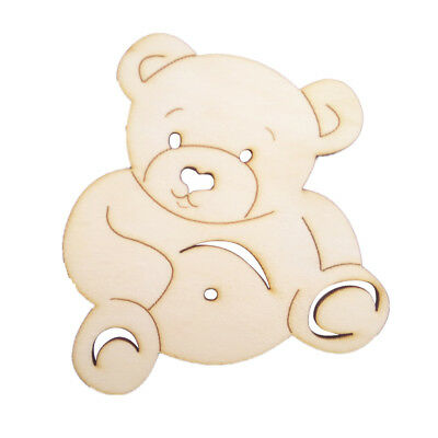 10pcs Blank Bear Cutout Wooden Pieces MDF Craft Embellishments