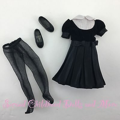 BARBIE STACIE DOLL CLOTHES Formal Black Evening Recital Dress Tights Shoes Cute!