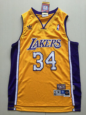 New Los Angeles Lakers #34 Shaquille O'Neal yellow Basketball Jersey Size:S-XXL
