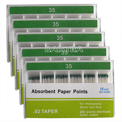 5 Boxes Dental Absorbent Paper Points .02 Taper 35# Endodontic Root Cleaning