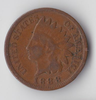 United States, Indian Head One Cent 1888, AF, WA1056