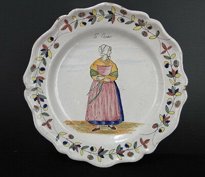 Ancienne Assiette Faience Malicorne Beatrix Pouplard Pbx Decor Breton (C306)