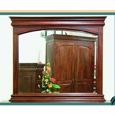 Solid Mahogany Wood Bevelled Glass Mirror Antique Style 125cm