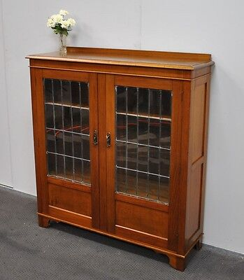 Lovely Antique Blackwood Leadlight Bookcase * Display Cabinet  c1920s