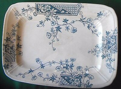 """Antique 16"""" Green Thomas Forester & Sons Porcelain Transferware China Platter"""