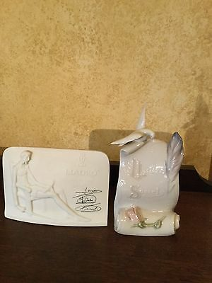Two Vintage Lladro Collectors Society Items Doves Peace Plaques
