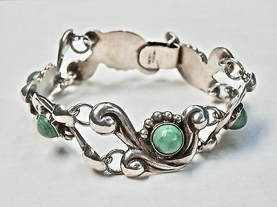 Mexican Bracelet Sterling Silver Green Onyx Vintage Modern Taxco Mexico 1940s