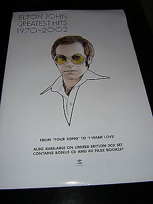 Original Elton John Promotional Poster - Greatest Hits 1970-2002