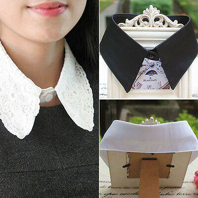 Retro Women Fake Half Shirt Blouse Detachable Collar Tie Peter Pan  Necklace AU