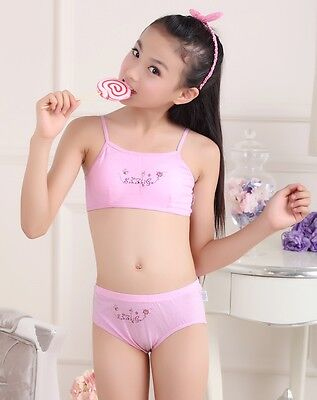 New Puberty Young girl student Teenagers cotton underwear set with Training bra