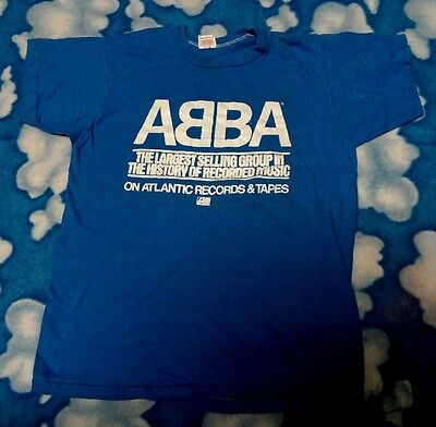 Vtg 1970's ABBA Atlantic Records PROMO T-Shirt S 70's concert tour LESTER BANGS