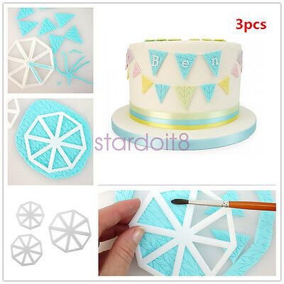Set of 3 Easy Bunting Cutters Icing Fondant Sugarcraft Mould Cake Decorating