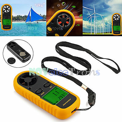 Digital Handheld Anemometer Wind Speed Meter Velocity Gauge Thermometer LCD