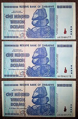 Zimbabwe 100 trilion dollars 3 pcs banknotes from one bundle FREE SHIPPING