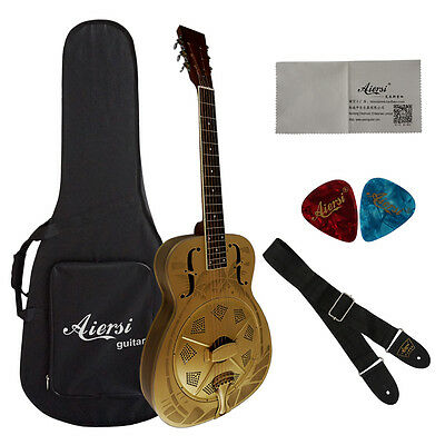 Hawaii tree Pattern Golden Bell brass O style Acoustic Resonator Guitar  A38-BGH