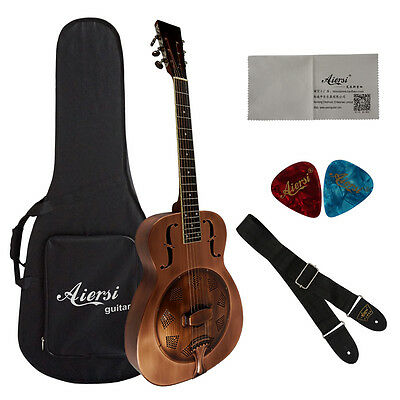 Red Cupper Rust O style Blues Slide Brass Acoustic Resonator Guitar A38-BB