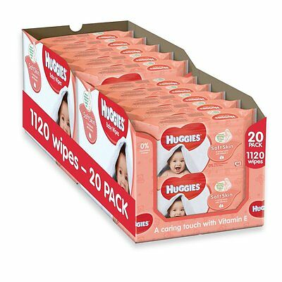 Huggies Soft Skin Baby Wipes - 20 Packs (1120 Wipes Total)