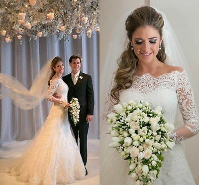 New White/Ivory Lace Wedding Dress Bridal Gown Ball Size 2 4 6 8 10 12 14 16