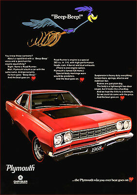 Plymouth Road Runner 68 Retro A3 Poster Print From Advert 1968