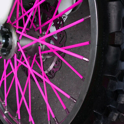 72pcs Pink Wheel Spoke Wraps Rim Protector Covers Skins For Dirt Bike Motorcycle