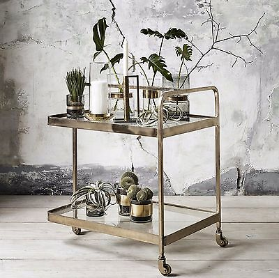 Luxury glass and brass drinks trolley or barcart