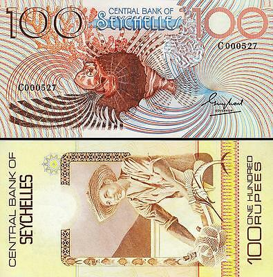 SEYCHELLES 100 RUPEES 1983 UNC P.31a - LOW SERIAL C 000*** - CENTRAL BANK