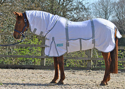**sale** Maxima White Combo  Fly Rug With Belly Wrap- Super Tough Fabric 4'9-7'0