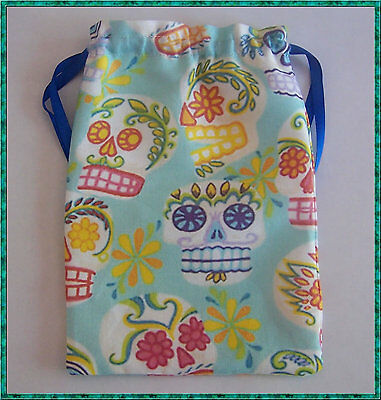 Blue Skull Tarot Card Bag ideal for most fairy, angel & Wicca tarot cards