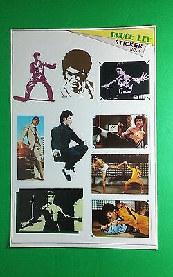 """BRUCE LEE MAGAZINE SERIES NO 4 SUIT JUMPING FACE MOVIE 6.5"""" x 9.75 STICKER SHEET"""
