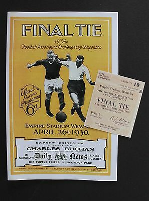 1930 FA Cup Final Arsenal Vs Huddersfield Town Programme Ticket