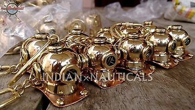 Lot Of 10 Key Ring Scuba Diving Mini Divers Helmet Solid Brass Dive Key Chain