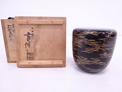 3004642: JAPANESE LACQUERED TEA CADDY w/PINE LEAF MAKIE / BY KOETSU / NATSUME /