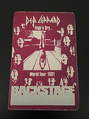 Def Leppard High And Dry Backstage Pass-1981