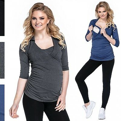 Happy Mama. Women's Pregnancy Top Layer 3/4 Sleeves V-neckline Wing Collar. 439p