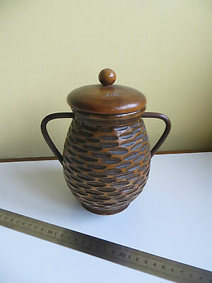 Antique? Turned Wood Wooden Storage Pot Beehive Tobacco? Caddy Tulle ? French?