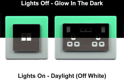 Single Double Light Switch Surround Finger Plate GLOW IN THE DARK Light Switch