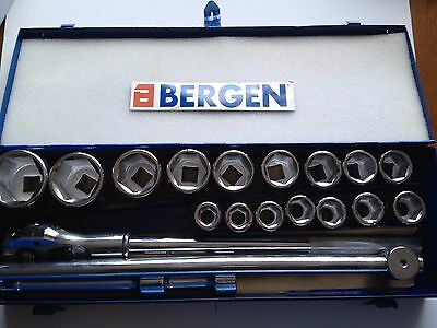 "BERGEN Tools 20pc 3/4""dr 6 point Metric Hex Socket Wrench Set NEW 1093"
