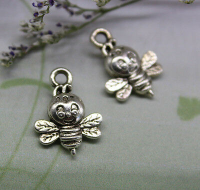 25/100pcs The fairy tale world delicate lovely Tibetan silver bee charm pendant