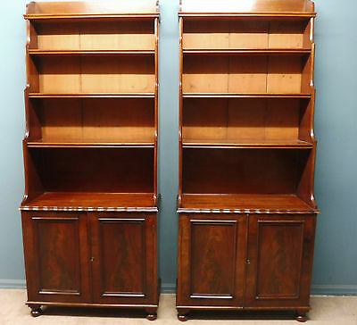 A Superb Pair Of Antique Victorian Mahogany Waterfall   Bookcases