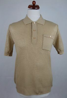 Vtg 1970S Brown Acrylic  Open Weave Banlon Polo Shirt Mod Northern Soul -M- DZ62