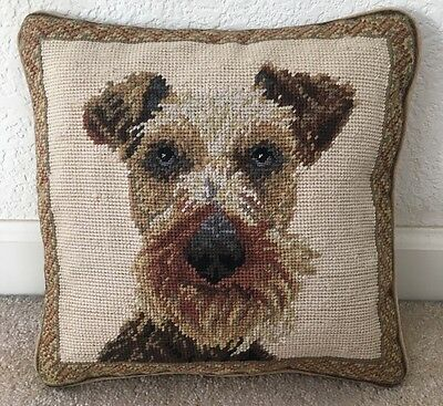 "Brand New Airedale Terrier Dog 100% Wool Handmade Needlepoint Pillow 12""by 12"""