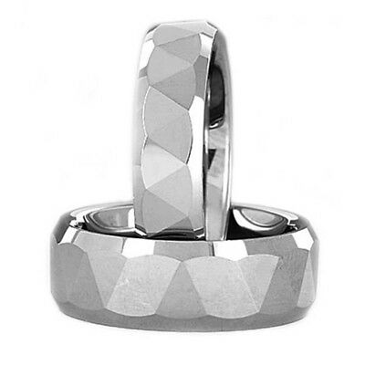 Tungsten His & Hers Engagement Wedding Band Ring Sets Triangle Facet Bevel Edge