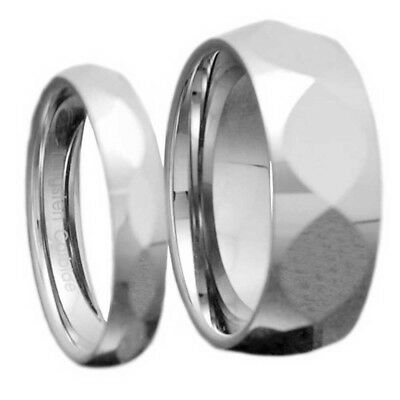 Tungsten His & Hers Engagement Wedding Band Ring Sets Celtic Fish Faceted