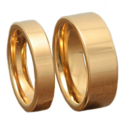 Gold Tungsten His & Hers Engagement Wedding Band Ring Sets High Polish Flat Top