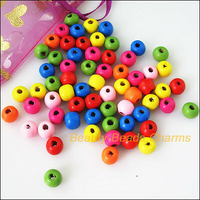 35Pcs Mixed Craft Wooden Round Smooth Loose Ball Spacer Beads Charms 13mm