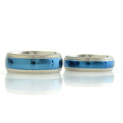 Blue Titanium His & Hers Engagement Wedding Ring Sets Silver Checkered Step Edge