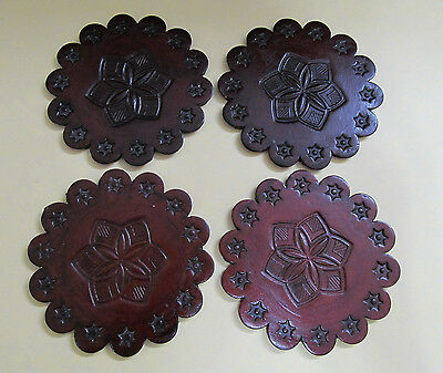 Dark brown round coasters Scallooped Tooled Leather thick set of 4 coasters