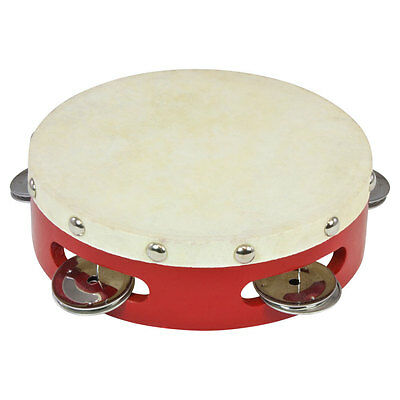 "Percussion Plus PP038 6"" Wood Shell Tambourine with Goatskin Head in Red"