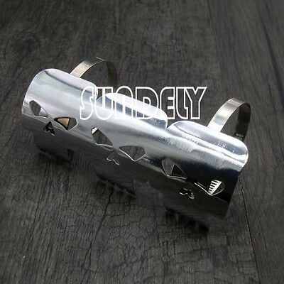 Silver Chrome Skull Metal Exhaust Heat Shield Guard Motorcycle Motorbike Bike UK